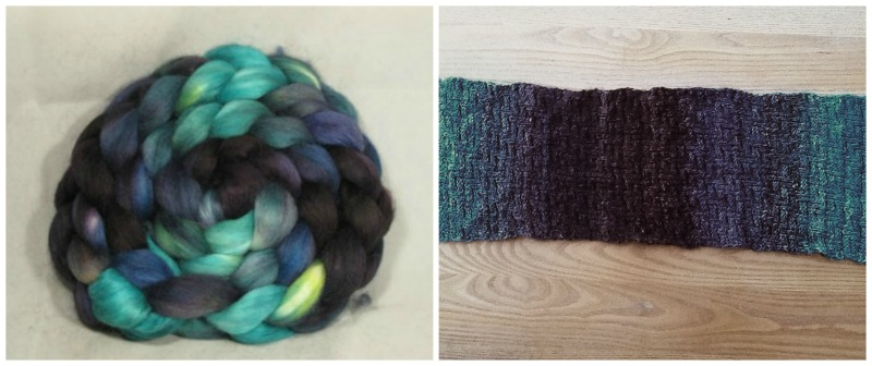"Corgi Hill Farm, ""Fangorn Forest"" colorway, worked out well in blurry and pure colors. It became the Fangorn wrap (blurry) and Darkside scarf (pure). Braid photo used by kind permission of Corgi Hill Farm."