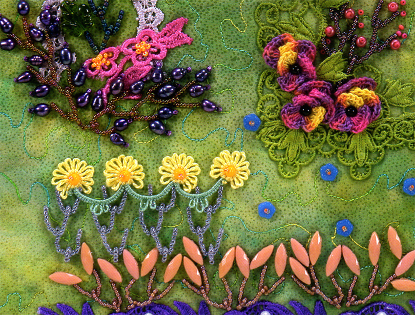 Nancy Eha's feather stitch sampler; seed bead botany course