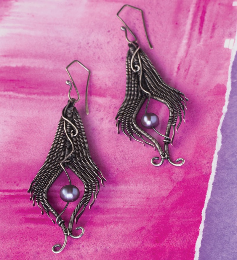 Feather Earrings from Fine Art Wire Weaving: Intermediate Online Workshop with Sarah Thompson