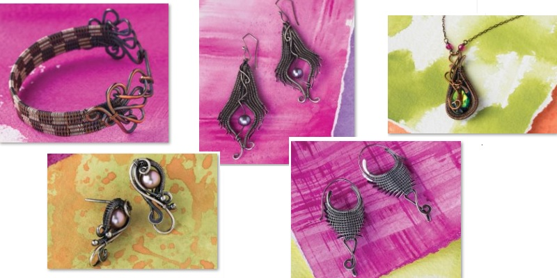 wire weaving jewelry designs from Fine Art Wire Weaving book and online workshops by Sarah Thompson