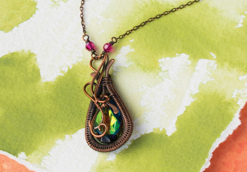 Raindrop Pendant from Fine Art Wire Weaving: Intermediate Online Workshop with Sarah Thompson