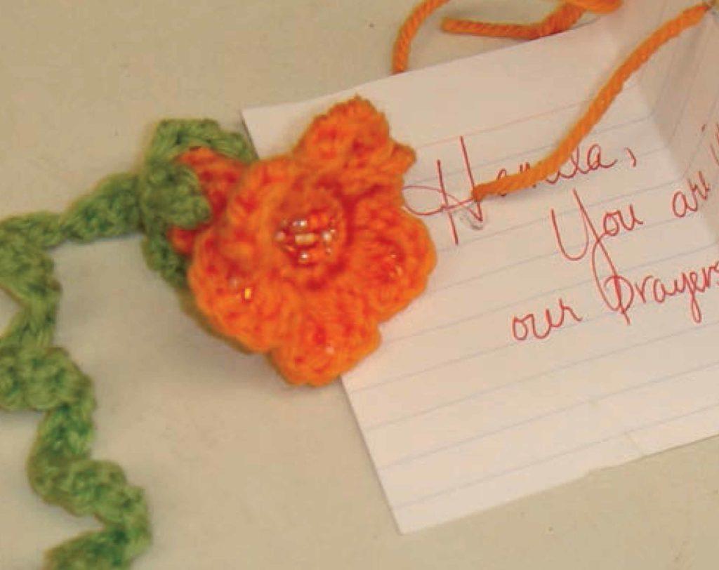 combat crochet: A crocheted flower for a friend.