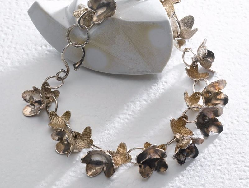 metal clay flower necklace by Kate McKinnon