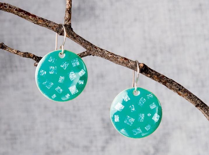 foil enamel earrings from Jeweler's Enamel Workshop by Pauline Warg