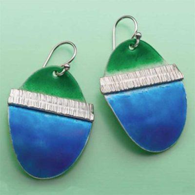 Pauline Warg's Enameled, Fold Formed Earrings