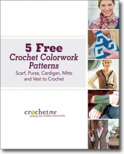 The free Crochet Colorwork Patterns eBook comes with 5 crochet patterns including a scarf, purse, cardigan, mitts, and vest.