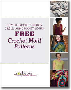 The Free Crochet Motif Patterns eBook has 5 crochet patterns that include crochet squares, circles and motifs.