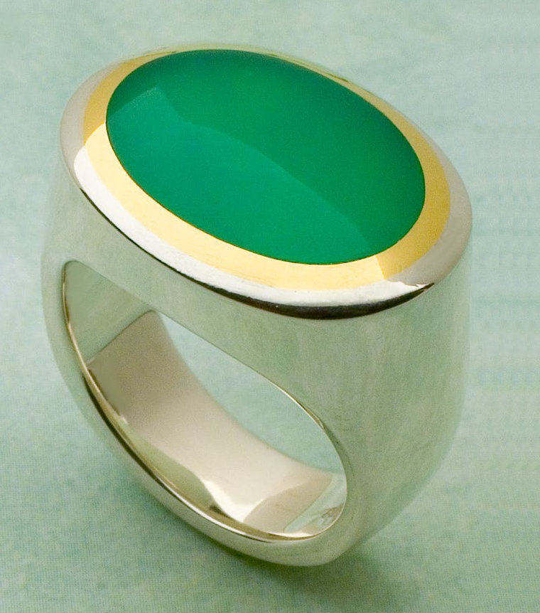 This hollow formed bezel ring features a chrysoprase cabochon, and originally appeared as a project in Lapidary Journal, July 2006; photo: Todd Murray