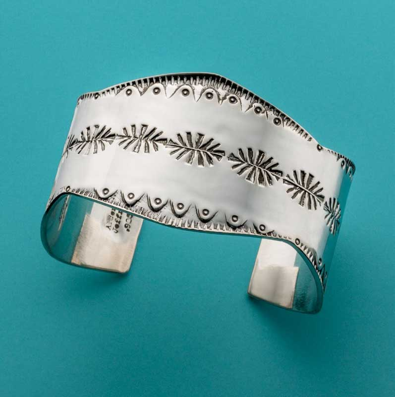 Stamped silver cuff bracelet by Jeff Fulkerson