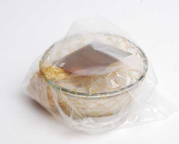 ammonia fuming chamber - glass dish, netting, cotton cloth, ammonia, plastic zip-top bag