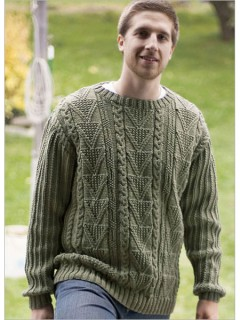 Deborah Newton has used a smorgasbord of neat cables, seed stitch, and texture patterns in this handsome crewneck pullover.