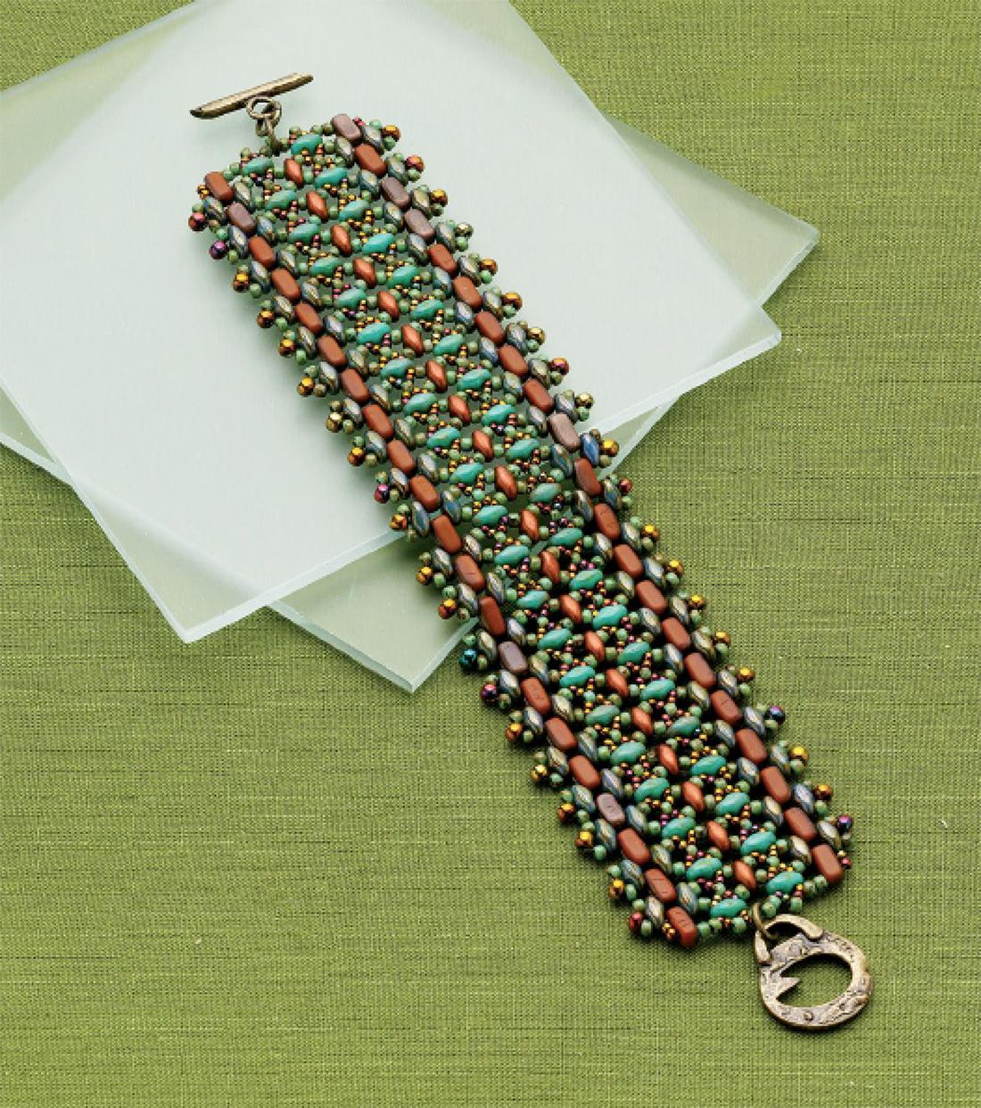 Botanic Gardens Bracelet by Svetlana Chernitsky 2 different two-hole shape beads stitched using netting and fringe