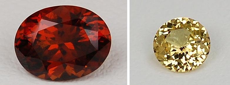 gemstones: hessonite and grossular garnets