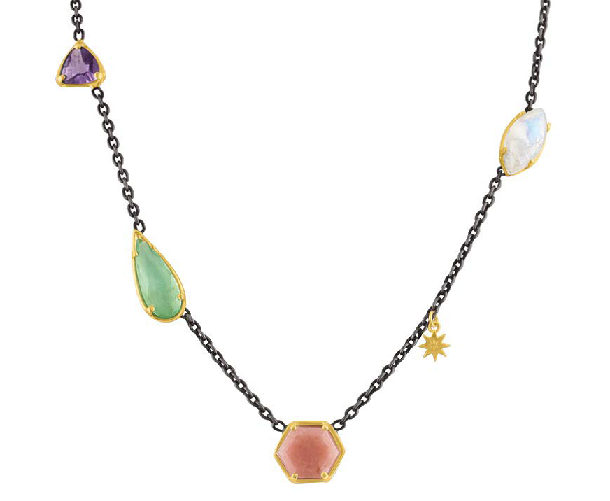Amy Glaswand's Mixed Stone Necklace was shown in Trends in Lapidary Journal Jewelry Artist September/October 2018. 18K yellow gold, oxidized sterling silver, rose quartz, amethyst, moonstone, and chalcedony. Photo courtesy Amy Glaswand