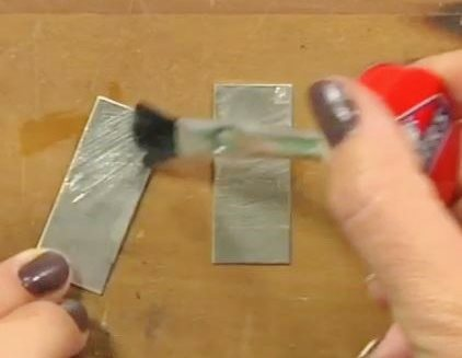 glue metal with rubber cement for sawing
