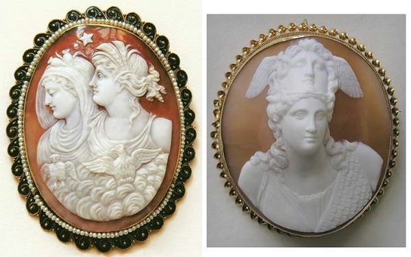 carved shell cameo brooches