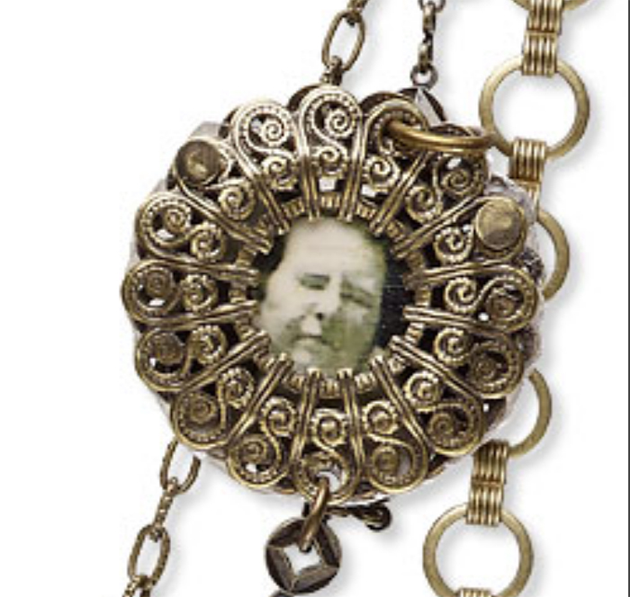 How to make vintage jewelry, Riveted filigree with grandmother's picture, Jewelry Stringing collection