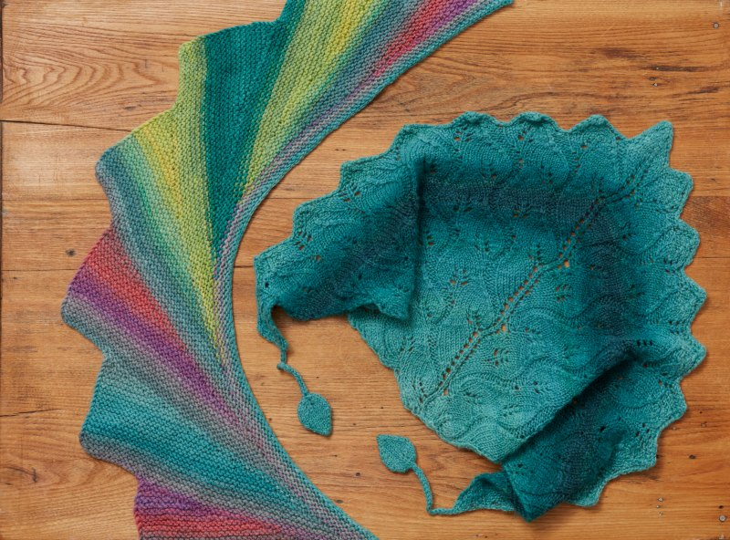 Left, Wingspan shawlette; right, Legolas scarflette.