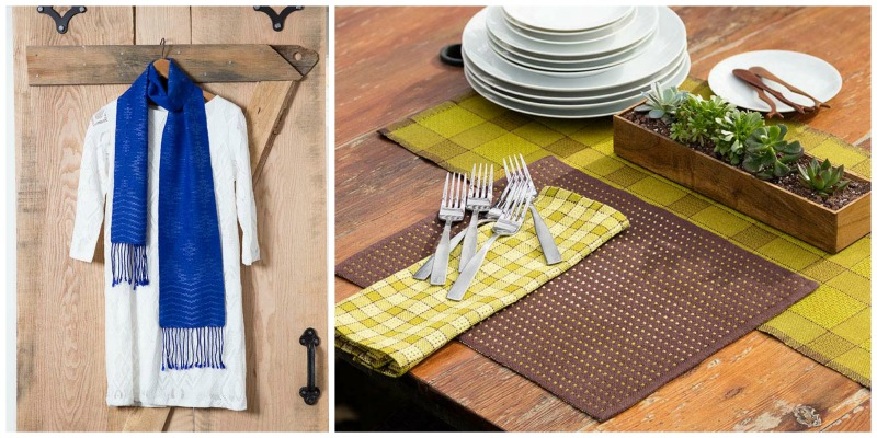 blue woven scarf and green woven napkins, green woven coasters, brown woven placemats
