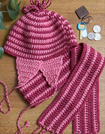 crochet peppermint hat and scarf