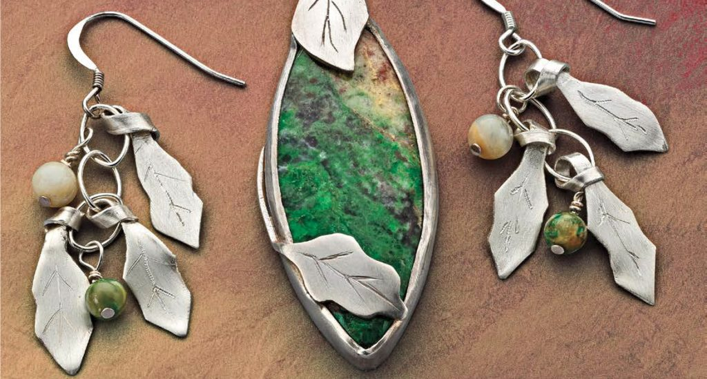 Peggy Haupt's Nestled Among Leaves pendant and earring project appears in Lapidary Journal Jewelry Artist September/October 2020; photo: Jim Lawson