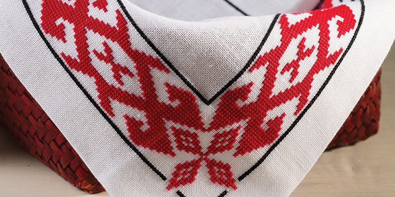 Detail of red embroidery work.
