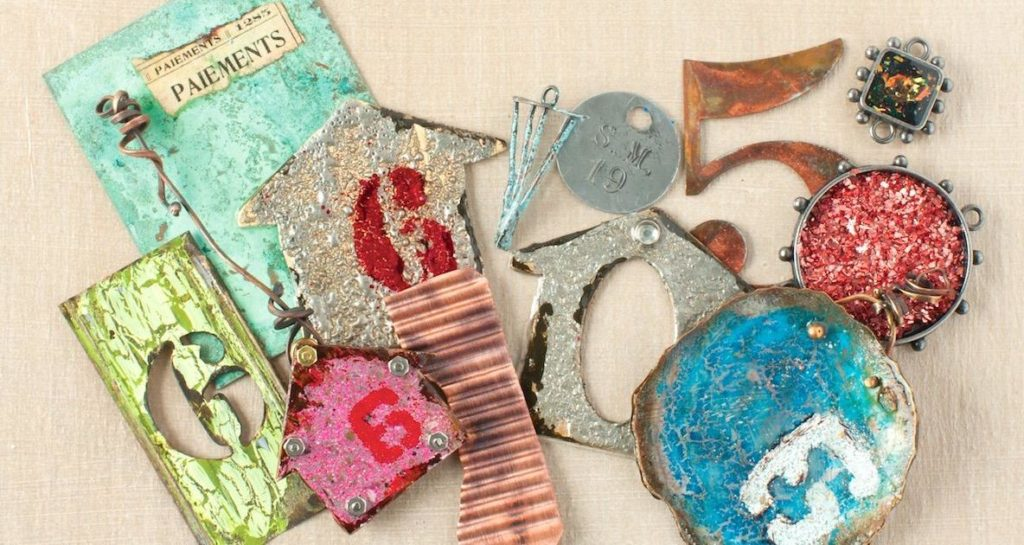 Join in Susan's world of color, shape, form, and texture in her workshop 15+ Ways to Alter Metal Surfaces.