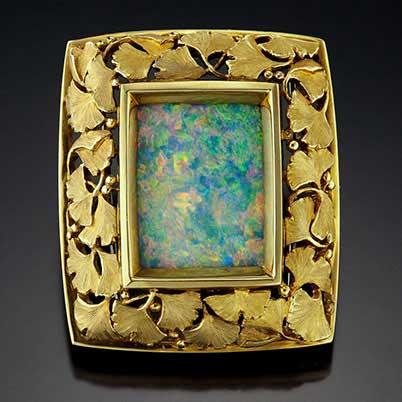 Tom Herman, Gingko opal brooch, Philadelphia museum of art craft show, jewelry artists, gemstone jewelry artist, opal, 18k gold,