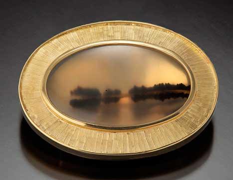 Tom Herman, On the Lake Brooch, Philadelphia museum of art craft show, jewelry artists, gemstone jewelry artist, On the Lake Brooch Necklace with Montana agate, 18K gold