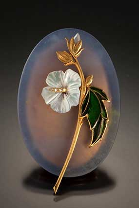 Tom Herman, Rose of Sharon, Philadelphia museum of art craft show, jewelry artists, gemstone jewelry artist, blue chalcedony gemstone, 18K gold, mother-of-pearl, enamel, plique a jour