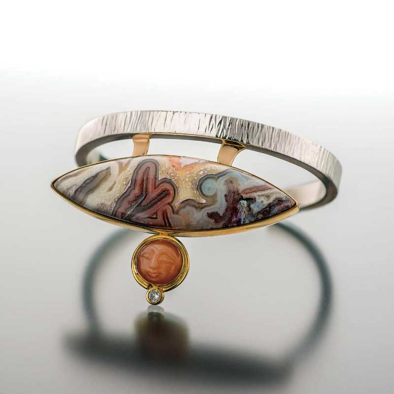 Sterling silver cuff and jessite cuff bracelet by John F. Heusler