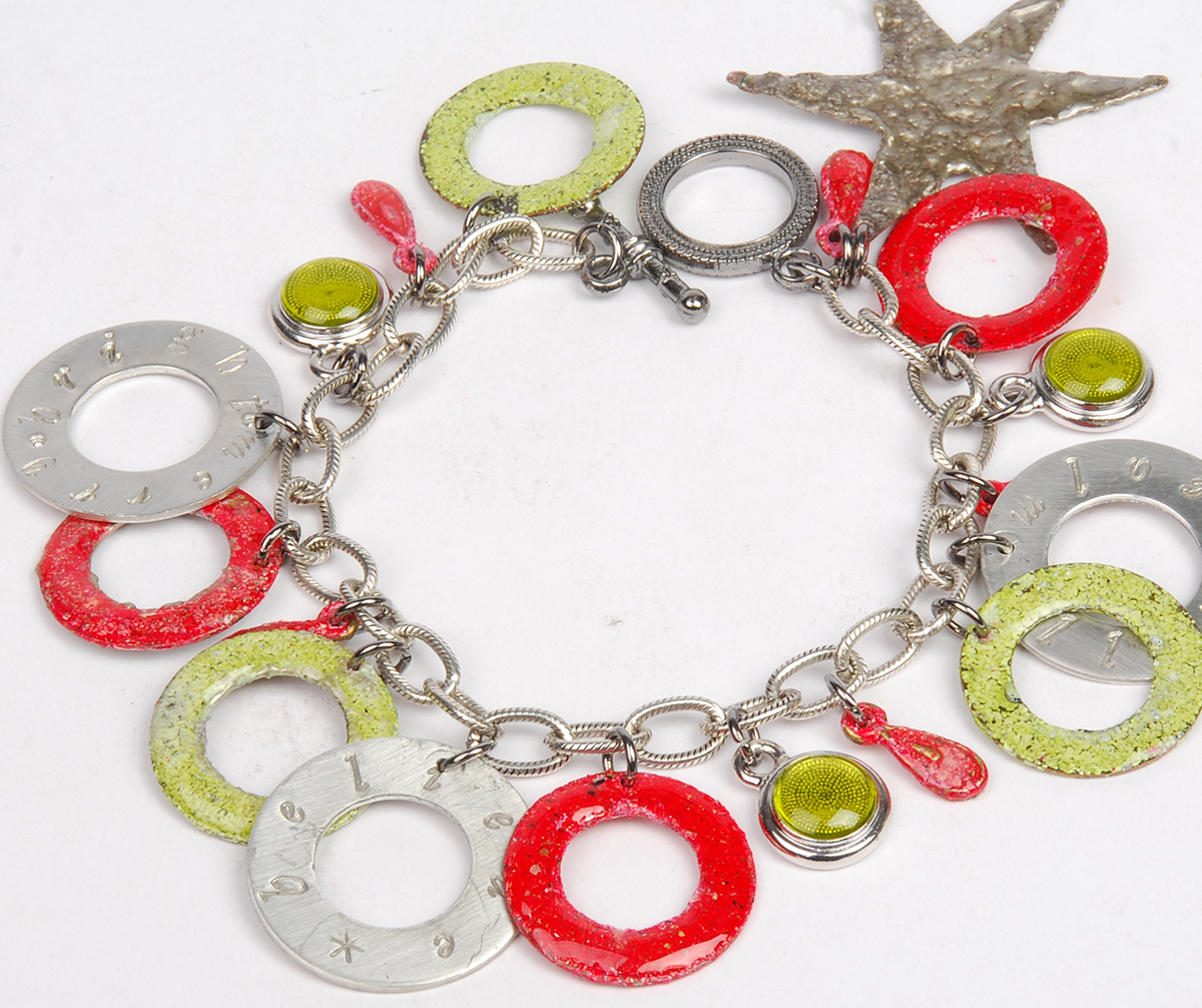 Holiday bracelet design free project by Tammy Honaman resin, Iced Enamels, Swarovski crystals, handmade jewelry designs