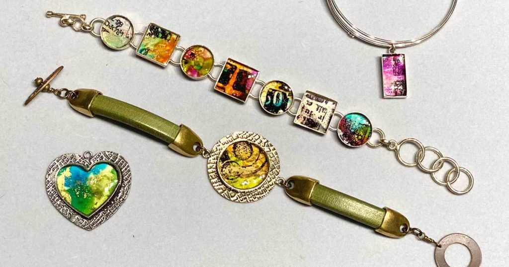 alcohol inks resin jewelry making