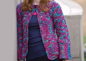 Learn how to create this fuchsia and blues jacket in this FREE eBook on crochet sweater patterns.