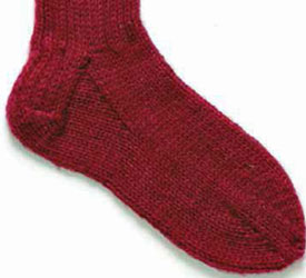 With big needles and worsted weight yarn, this top-down knitting pattern is perfect for any knitter to practice sock knitting with.