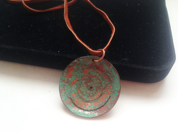 Learn Jewelry Making One Skill at a Time. Riveted pendant with natural patina.