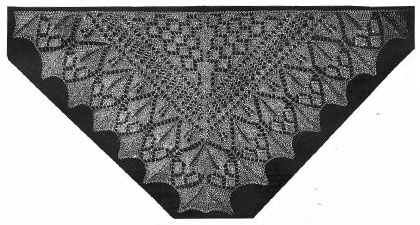 Diamond Pattern Shawl, Showing a Corner of the Border and Insertion.