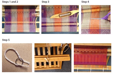 These weaving techniques for cutting a sample off the loom will save you tons of time while weaving.