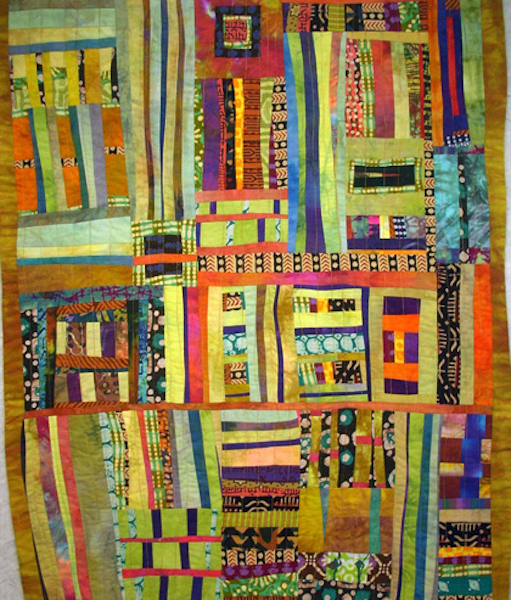 Modern Sashiko stitched quilt, Jazzfest, Rayna Gillman