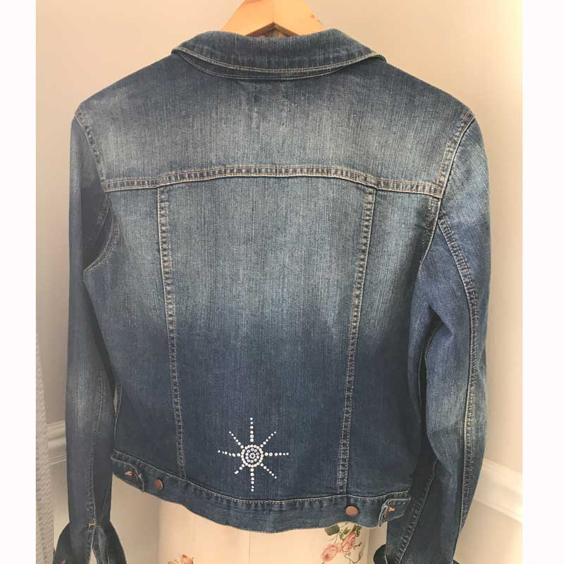 Add a little sparkle with Swarovski to the front or back of your favorite jean jacket.