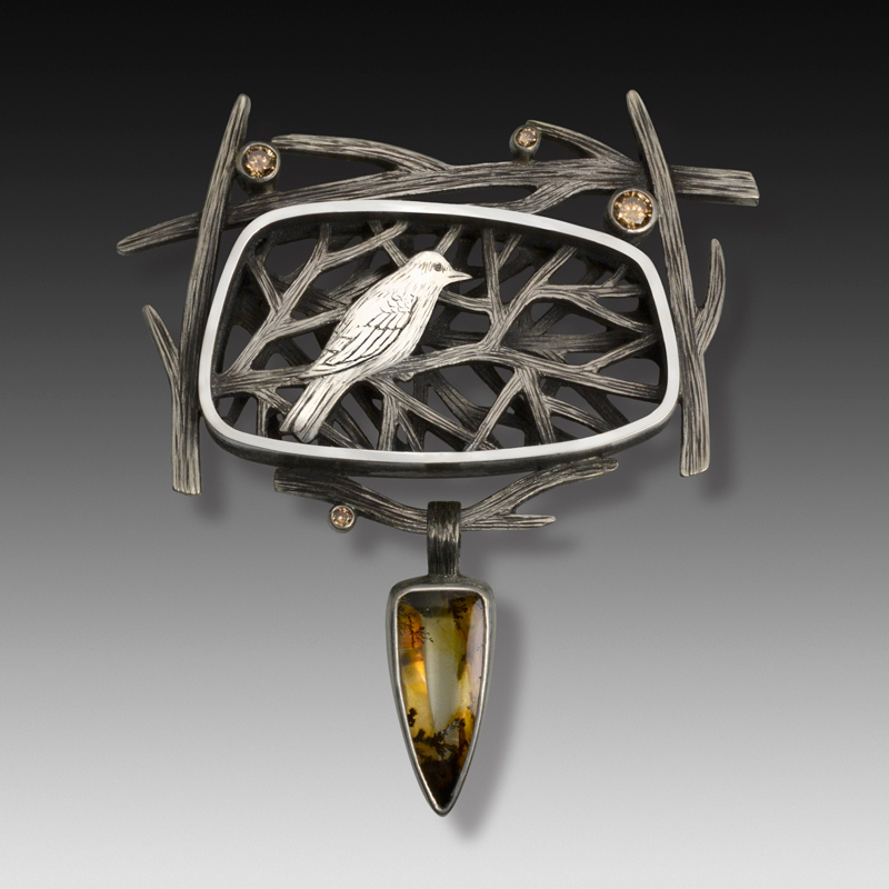 Bird Pin by jewelry artist Suzanne Williams