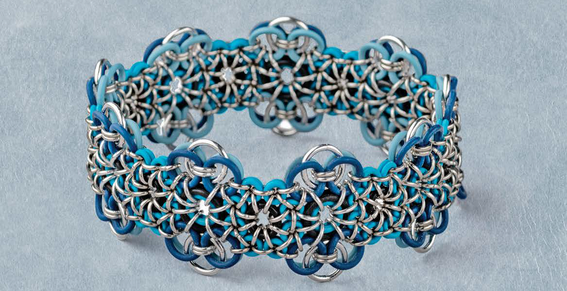Easy to fit, pretty, sporty, and reversible, Michelle Brennan's innovative Stretchy Chain Maille Bracelet makes a perfect holiday gift and appears in Lapidary Journal Jewelry Artist November/December 2018. Photo: Jim Lawson