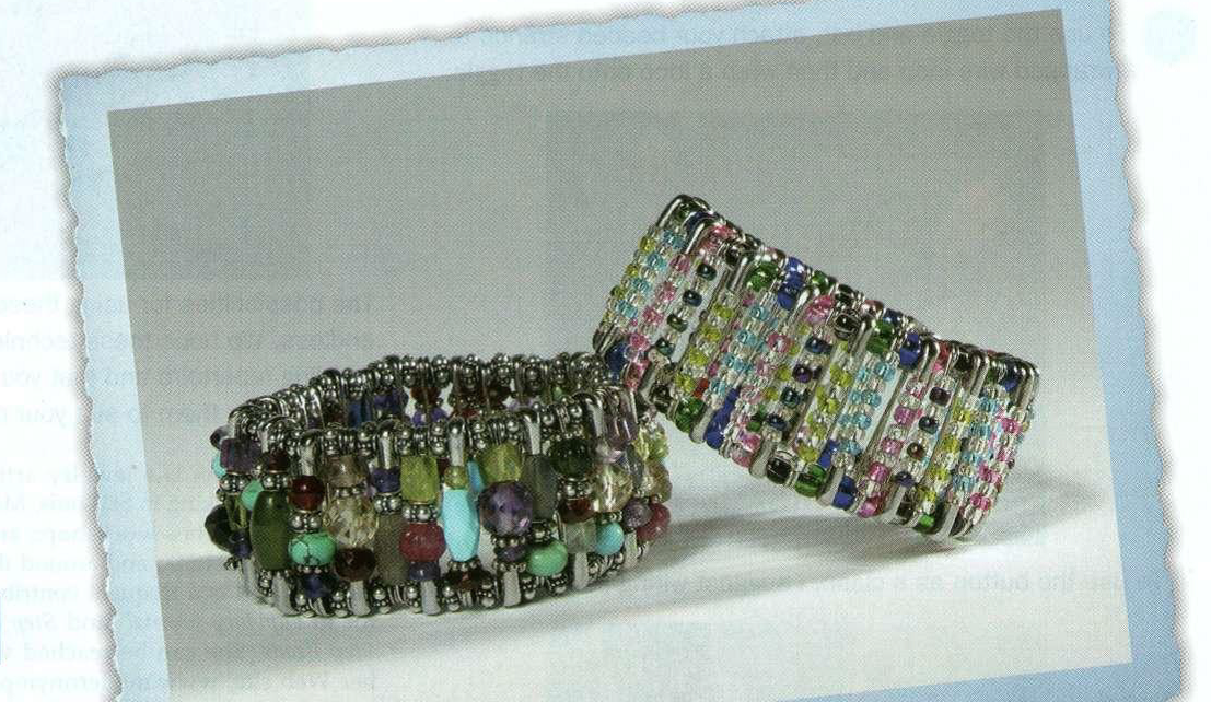 Made with elastic, safety pins, and beads, the cuff on the left by Nina Cooper and the one on the right by her daughter Lyra appeared in Lapidary Journal October 2003.