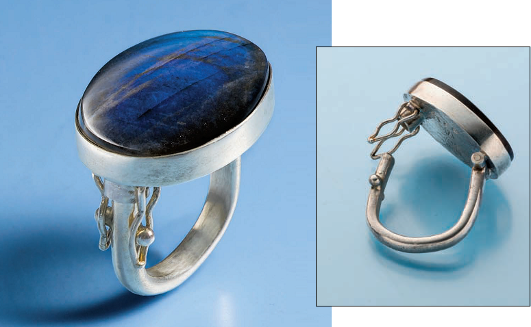 Judy Hoch's Hinged Ring with Cabochon appeared in Lapidary Journal Jewelry Artist September/October 2013. Photo: Jim Lawson