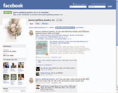 This image is a photo of a Facebook page. The free How to Sell Jewelry eBook gives tips on how to use Facebook to improve your jewelry business.