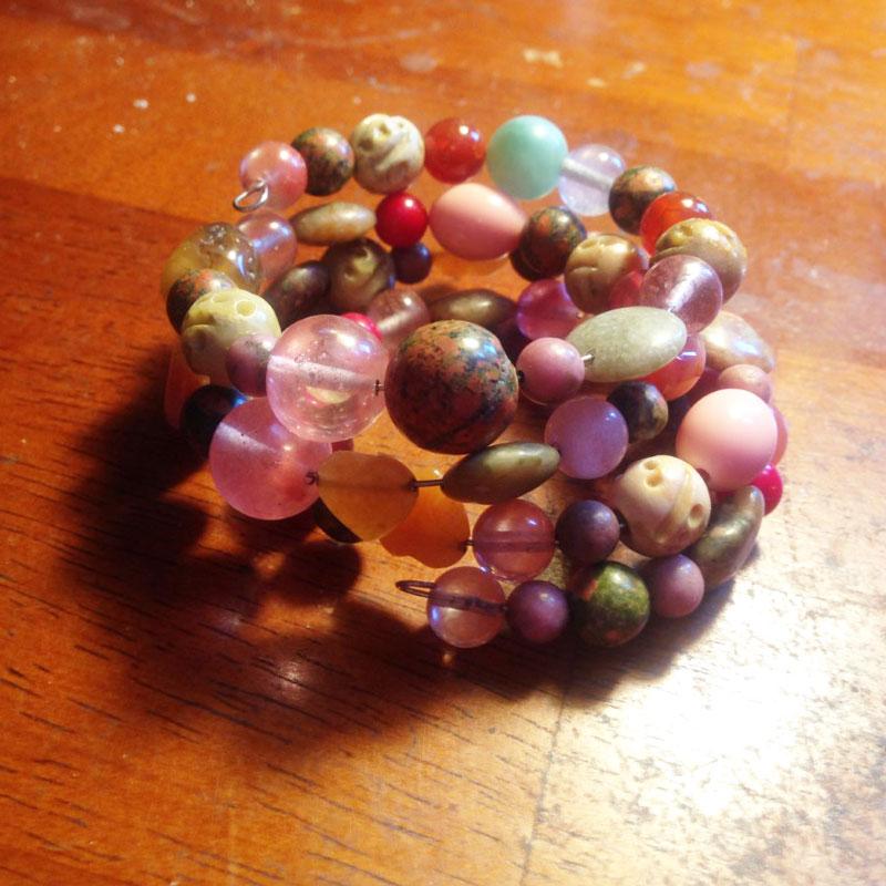jewelry supplies: random bead cuff bracelet