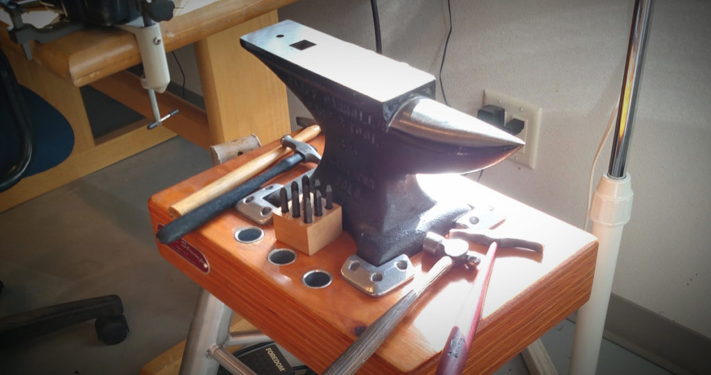 jewelry tools: Judy Staby Hoch's 35-pound studio anvil by Cliff Carroll