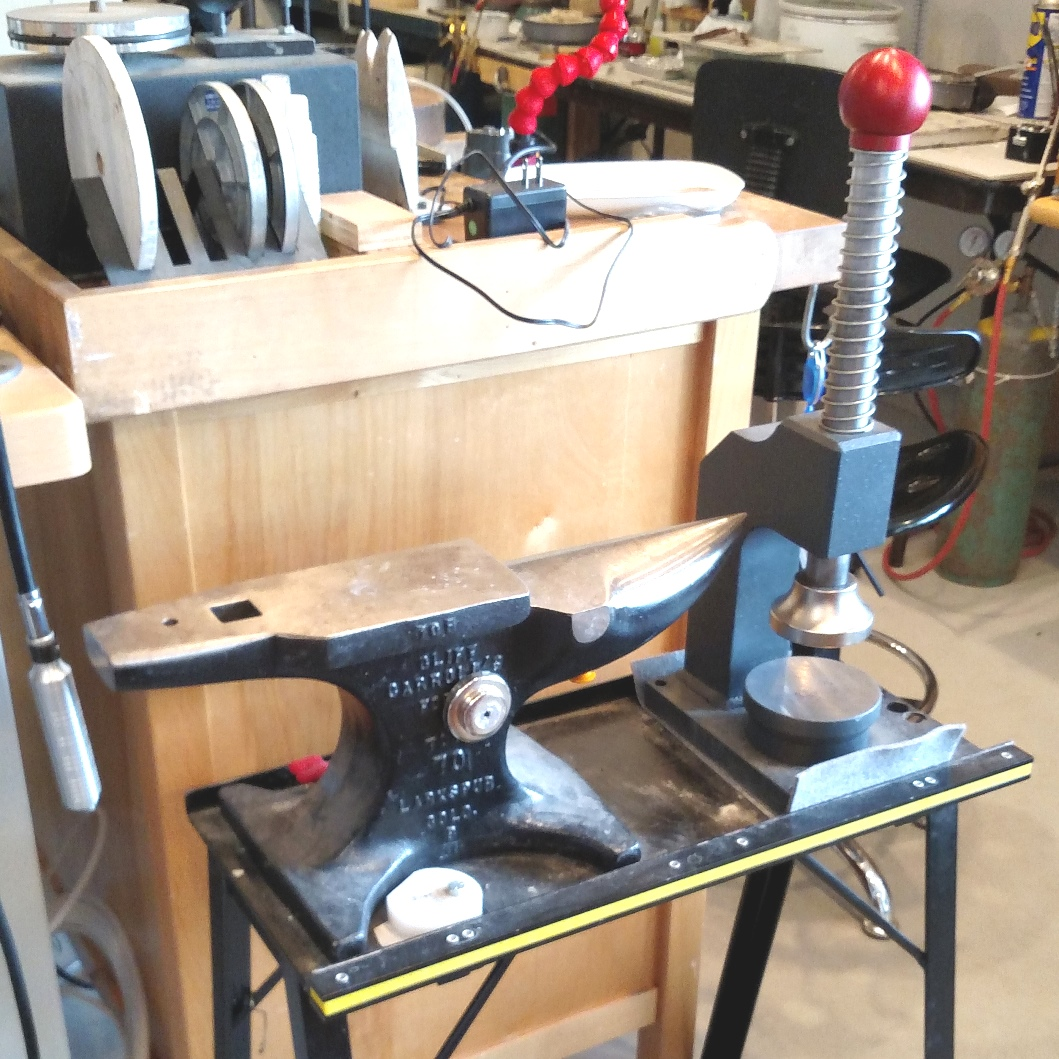 jewelry tools: The larger Cliff Carroll anvil at Hoch's studio. Carroll also made the stand.