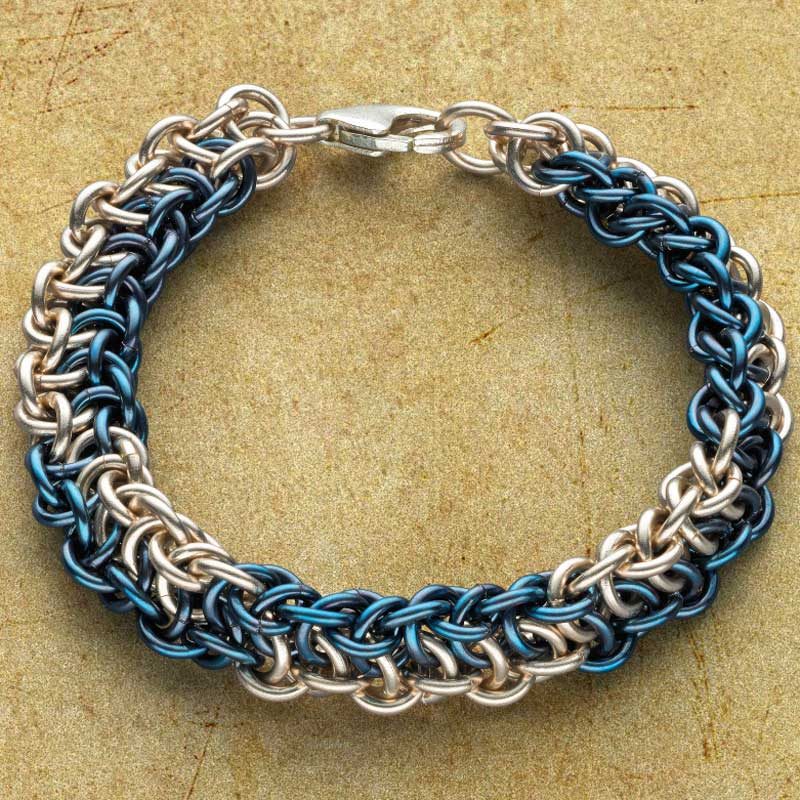 niobium - a dream jewelry metal to work with and look at! Snakeskin chain maill jewelry bracelet.
