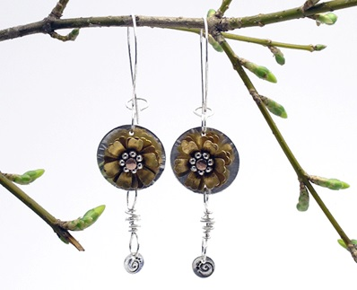 make these exclusive riveted dangle earrings by Karen Dougherty